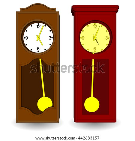 Set of vintage wall clock with a pendulum. Vector illustration on a white background. - stock vector