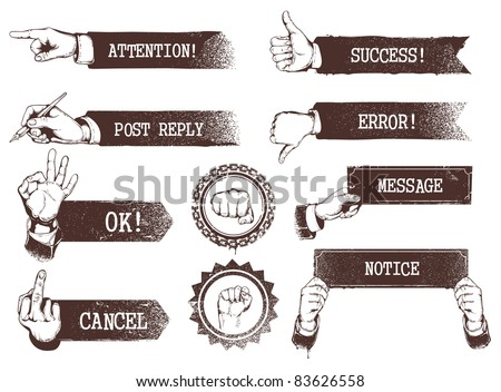 Set of vintage weathered banners with hands. - stock vector