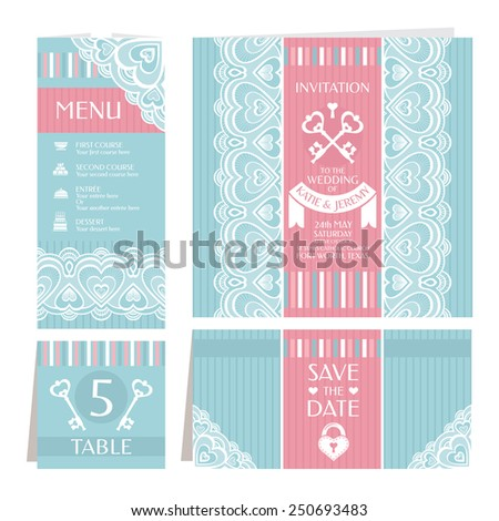 Set of vintage wedding cards vector illustration - stock vector