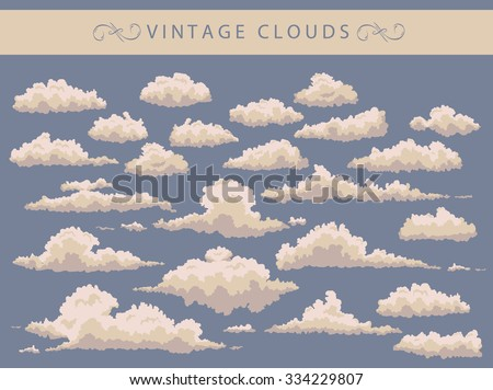 set of vintage white clouds on a blue background - stock vector