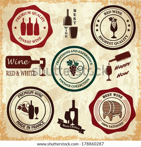 Set of vintage wine labels - stock vector
