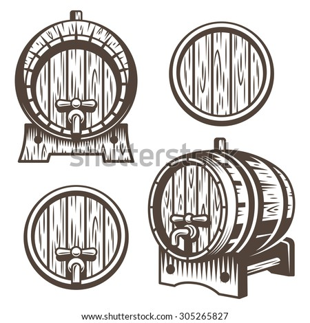 Set of vintage wooden barrels in different foreshortening. Monochrome style. Isolated on white back ground - stock vector