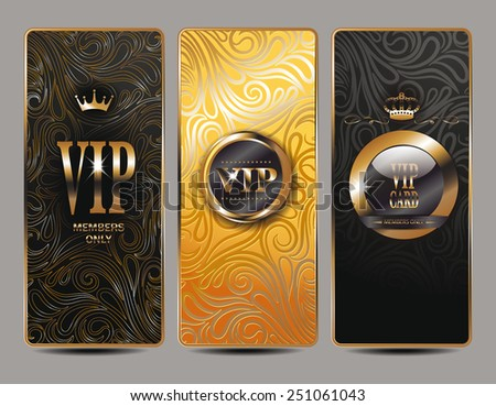 Set of  VIP cards with floral background - stock vector