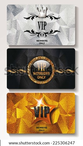 Set of VIP cards with textured design elements - stock vector