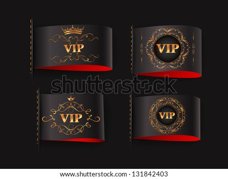 Set of VIP gold black labels - stock vector