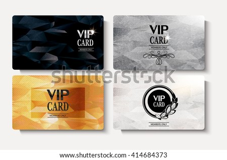 Set of VIP gold cards with polygonal textured background - stock vector