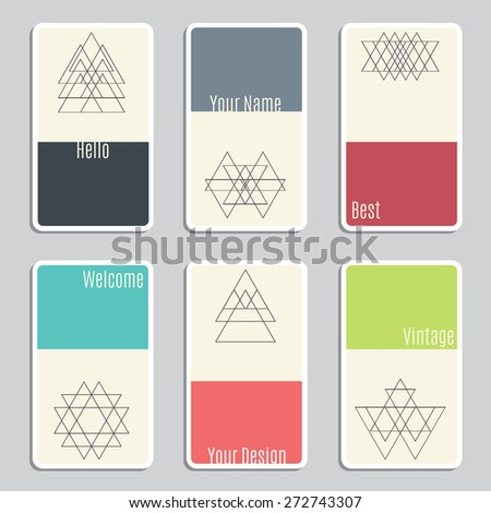 Set of visit cards with geometric figures. Vector illustration - stock vector