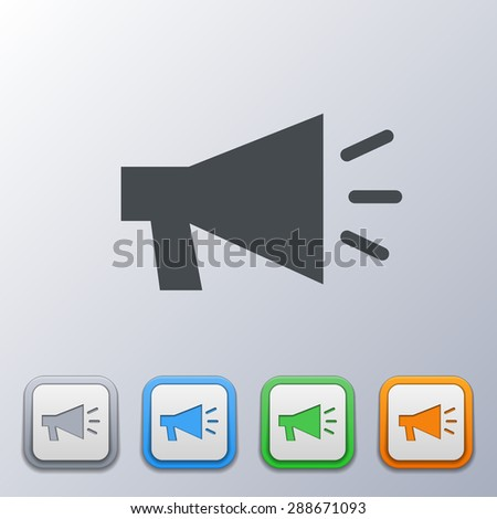 Set of volume icons 3d, gray, orange, green, blue, with a picture of an the sound volume. - stock vector