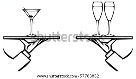 Set of waiter's hands with orders #4 isolated black contour on white background - stock vector