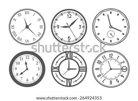 Set of wall clock. Watch and circle, symbol, second and minute. Vector illustration - stock vector