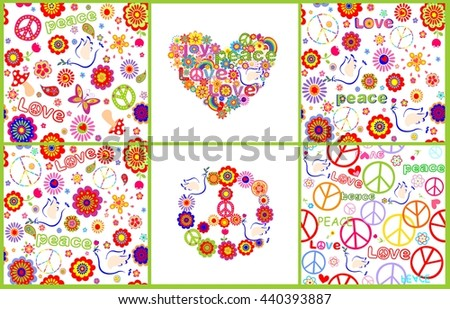 Set of wallpaper with colorful abstract flowers, hippie symbolic, mushrooms and doves - stock vector