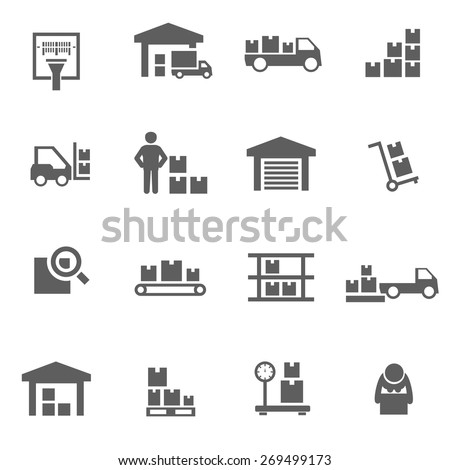 Set of warehouse logistic storage vector black icons - stock vector