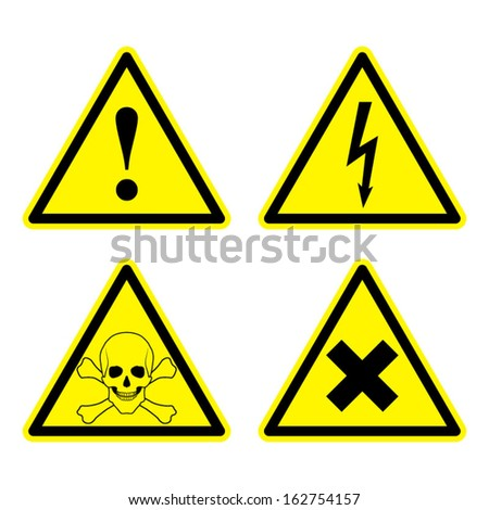Set of Warning Sign - stock vector
