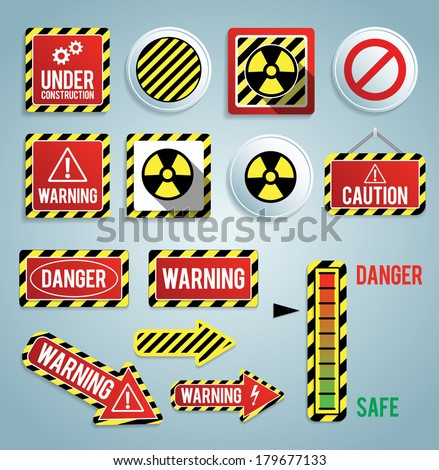 Set of warning signs. EPS10. - stock vector