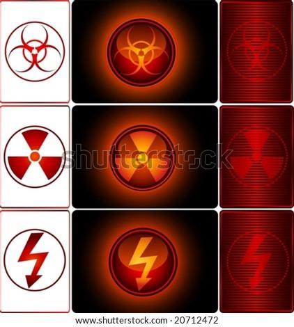 Set of Warning Signs - vector - stock vector
