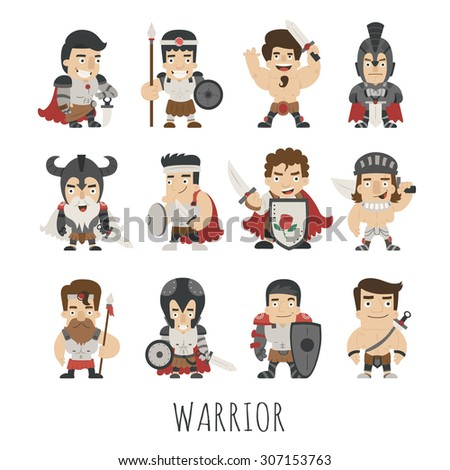 Set of warrior costume characters , eps10 vector format - stock vector