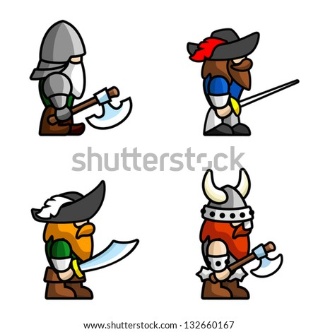 Set of warriors. Each character consists of head, body, two arms and two legs. - stock vector