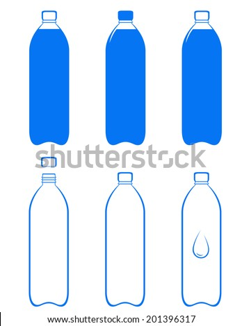 set of water bottle silhouette on white background - stock vector