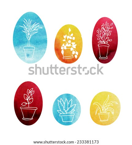 Set of water color houseplants. Vector icons - stock vector