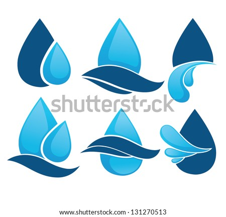 Set of water design elements, emblems, signs and icons - stock vector
