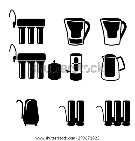 Set of water filter in black silhouette icon style, isolated on white background. Reverse osmosis system. - stock vector