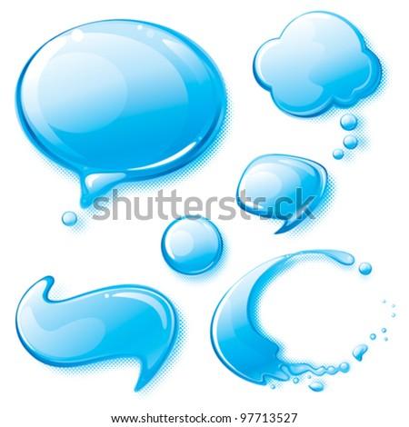 Set of water speech bubbles. - stock vector