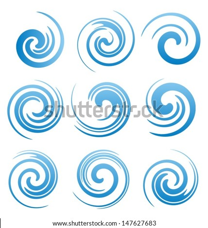 Set of water swirls design elements. Abstract water splash shapes collection. Vector waves symbols, signs and icons. - stock vector