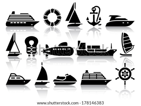 Set of Water transport black icons with reflection, vector illustrations - stock vector