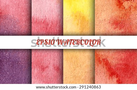 Set of 4 watercolor abstract gradient backgrounds. Vector backgrounds in summer or autumn mood colors: violet, red, pink and yellow. Handmade backgrounds for cards, banners, invitations, and menus.  - stock vector