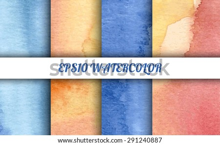 Set of watercolor abstract gradient backgrounds. Vector backgrounds in summer or winter mood colors: shades of blue, pink and yellow. Handmade backgrounds for cards, banners, invitations, and menus.  - stock vector