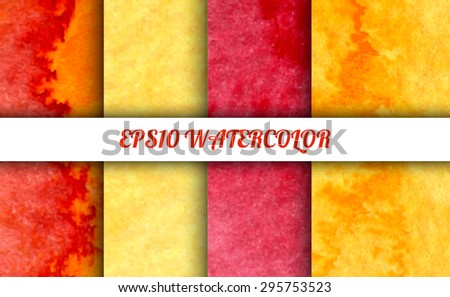 Set of 4 watercolor abstract gradient backgrounds. Vector backgrounds in summer rainbow colors. Handmade backgrounds for cards, banners, invitations, and menus.  - stock vector