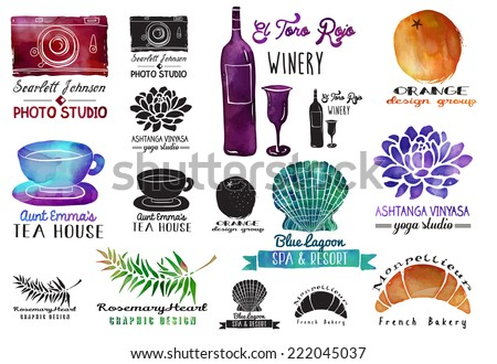 Set of watercolor and ink advertising labels with clip art objects, including wine bottle and glass, photo camera, orange, seashell, lotus flower, teacup and croissant  - stock vector