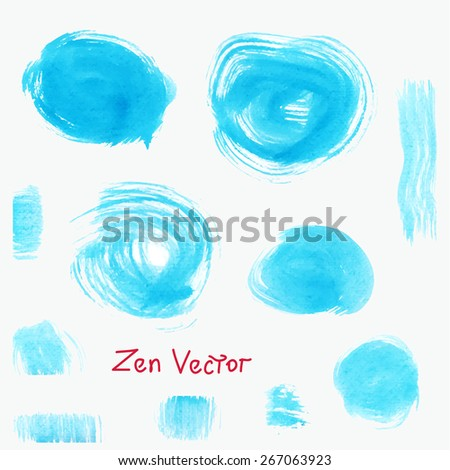 Set of watercolor blobs isolated on white background. Vector illustration. - stock vector