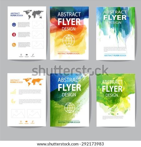 set of watercolor brochure - stock vector