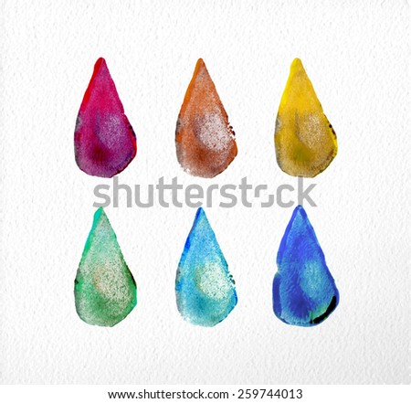 Set of watercolor drop elements hand drawn illustration. EPS10 vector file organized in layers for easy editing. - stock vector