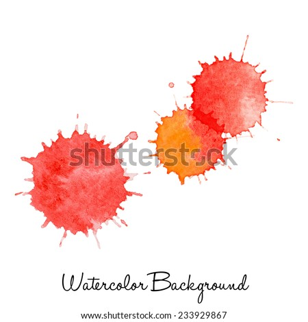 Set Of Watercolor Drops, Hand Drawn Abstract Background For Card, Brochure,Banner,Web Design. Vector Splatters. - stock vector