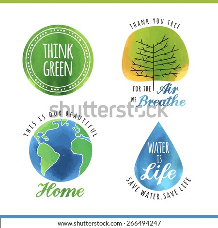 set of watercolor environmental labels, vector illustration - stock vector