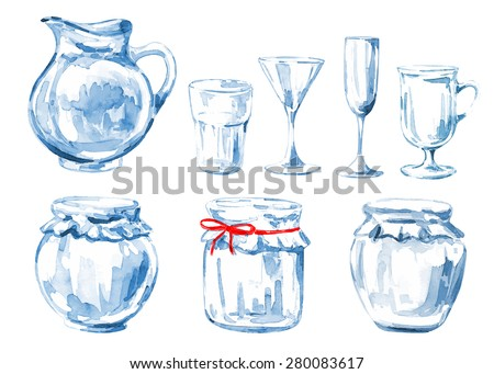 Set of watercolor glass. Vector background. Wine Glass. Crockery for drink. - stock vector
