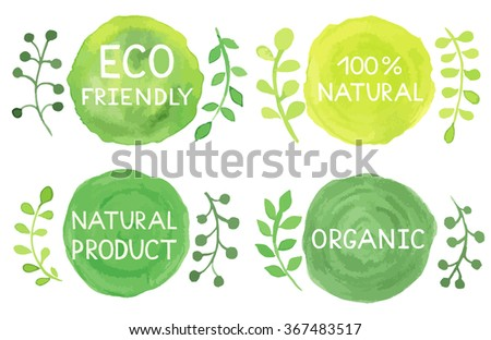 Set of watercolor green logo. Leaves, badges, branches wreath, plants elements. Hand drawn painting. Sign label,textured emblem. Organic design template. - stock vector