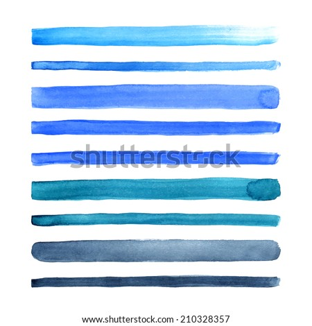 Set of watercolor hand painted stripes. Realistic vector graphics. Hand drawn watercolor elements for design. Blue abstract vector strips on the white background. - stock vector