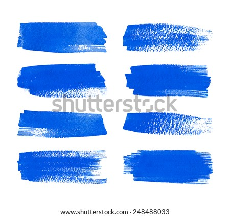 Set of watercolor hand painted stripes. Realistic vector graphics. Hand drawn watercolor elements for design. Blue abstract vector strips on the white background. Watercolor brush strokes. - stock vector