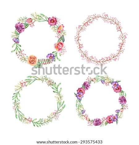 Set of watercolor hand painted wreath. Vector isolated illustration. Perfect for wedding invitation, greeting or save the date card. - stock vector