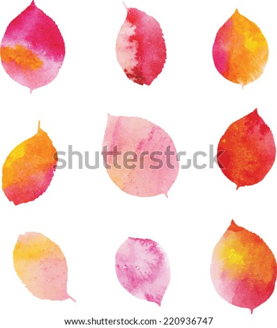 Set of watercolor leaves. - stock vector