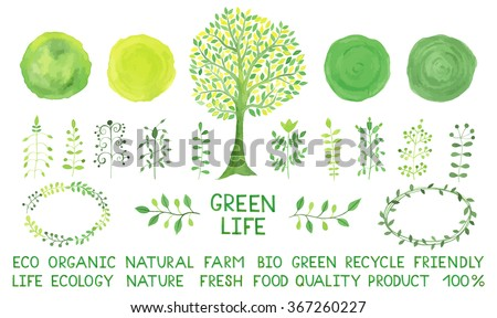 Set of watercolor logotypes. Green spots, labels, badges, leaves, branches, plants elements, laurels, frames. Organic, bio, ecology, eco natural design template. Hand drawn tree. - stock vector