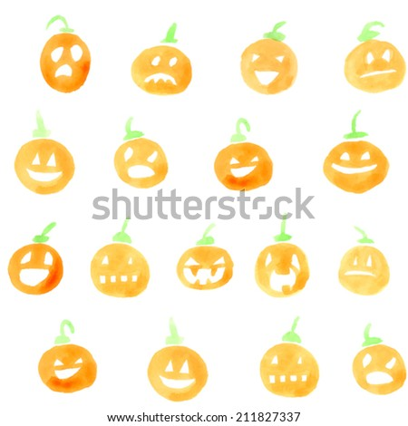Set of watercolor pumpkins. Jack-o'-lantern with funny faces. Vector - stock vector