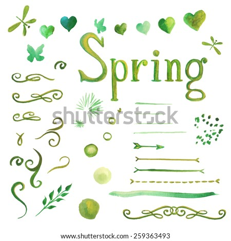 Set of watercolor spring elements for design of cards, invitations, backgrounds. Green color. Vector whorl, separators, hearts, circles and lettering Spring. Hand drawn - stock vector