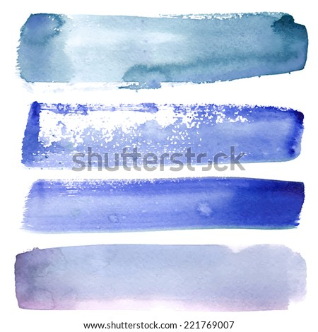 Set of watercolor stains on white background, abstract blots isolated. Bright colors, divorces - stock vector