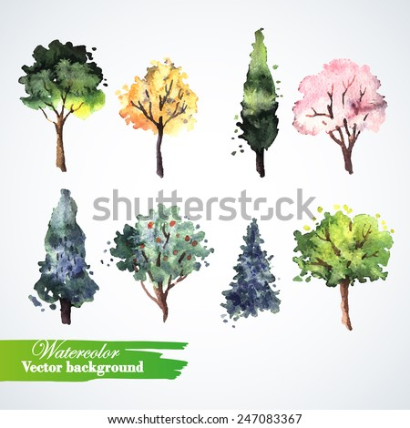 Set of watercolor trees.  Hand painting. Watercolor.  Illustration for greeting cards, invitations, and other printing projects. - stock vector