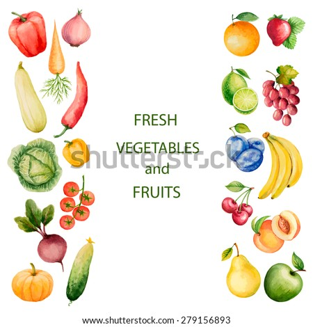 Set of watercolor vegetables and fruits.Template for your design. Vector illustration. - stock vector