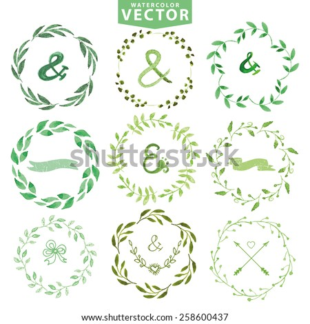Set of watercolor wreaths and laurels. Hand painted branches,leaves,petal decor elements.For design template,invitation. Nature,organic,bio items.Watercolor Hand sketched Vector. - stock vector